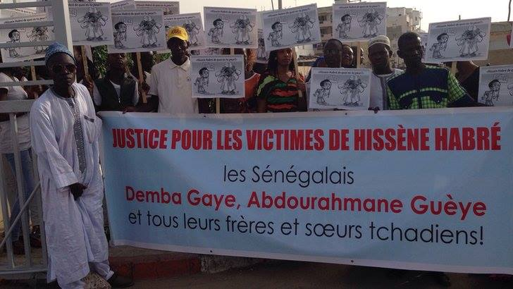 Protest with victims of the Chadian former dictator former dictator Hissène Habré