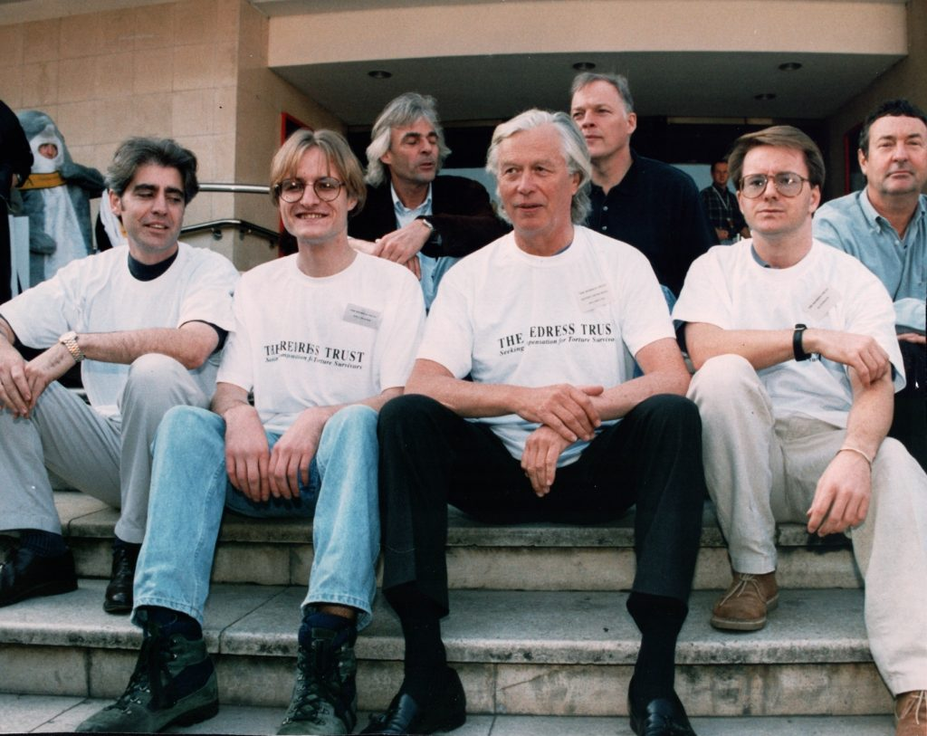 Keith Carmichael with Pink Floyd during a London benefit concert in 1994