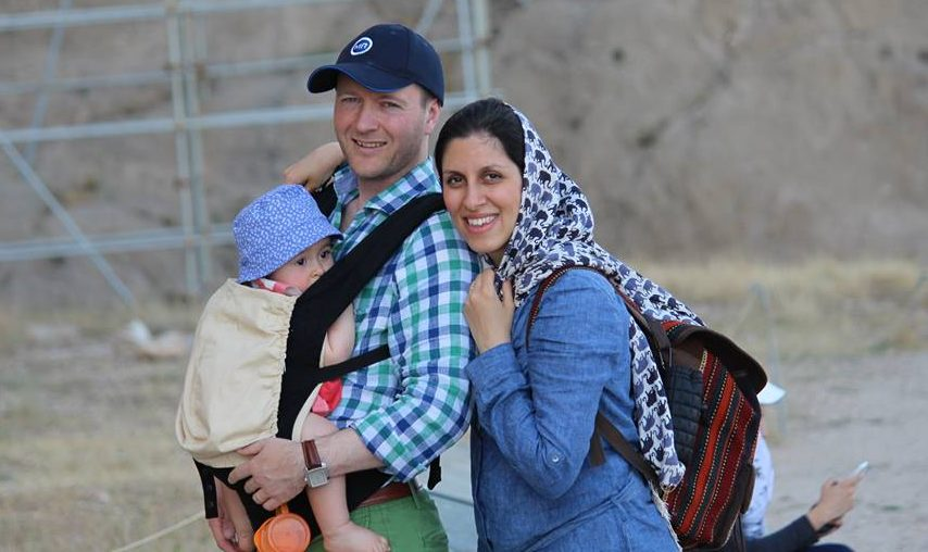 Richard and Nazanin Ratcliffe with their daughter Gabriella.