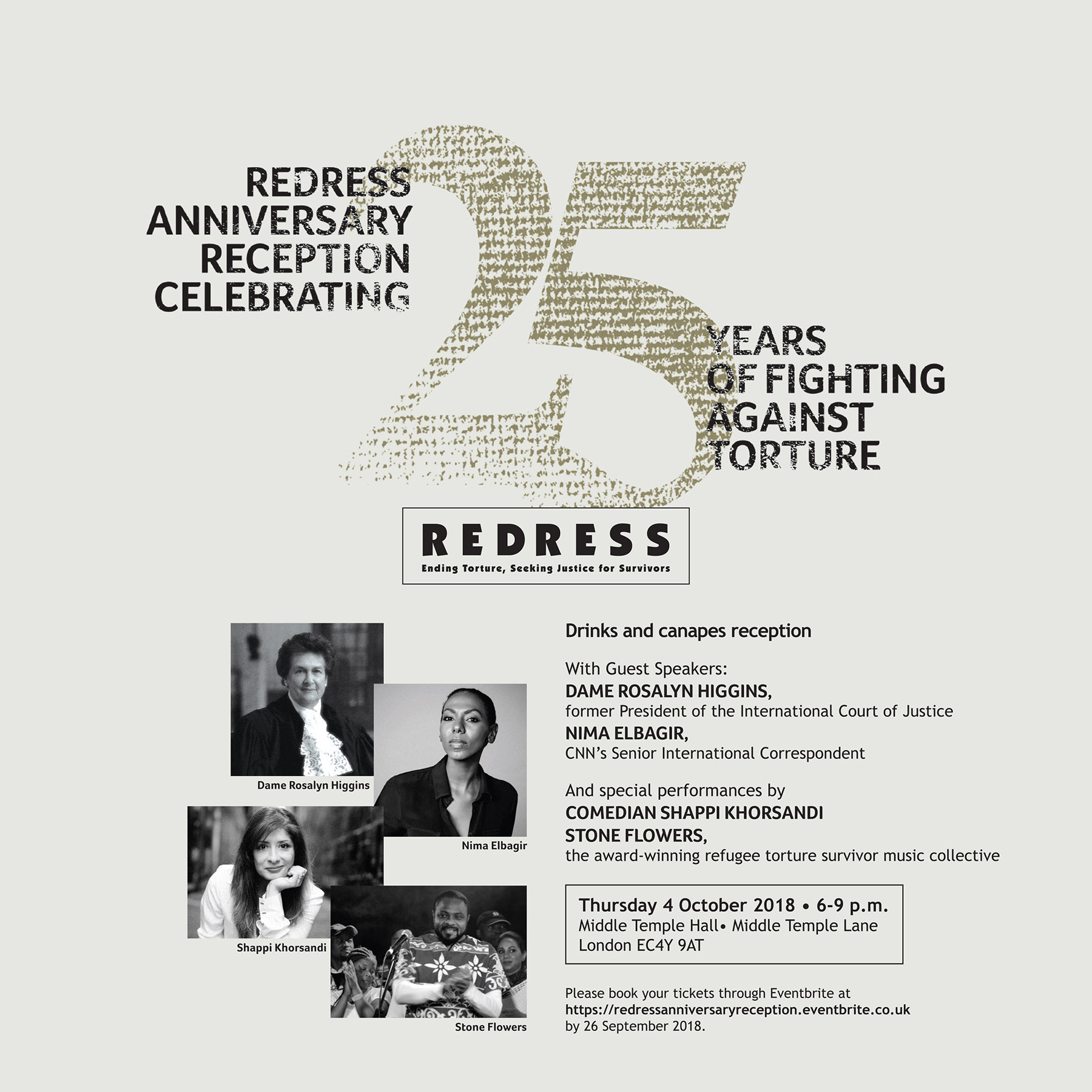 REDRESS' Anniversary Reception celebrating 25 Years of Fighting Against Torture