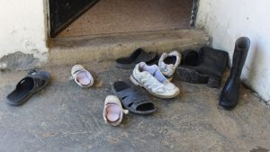 Shoes left by refugees.