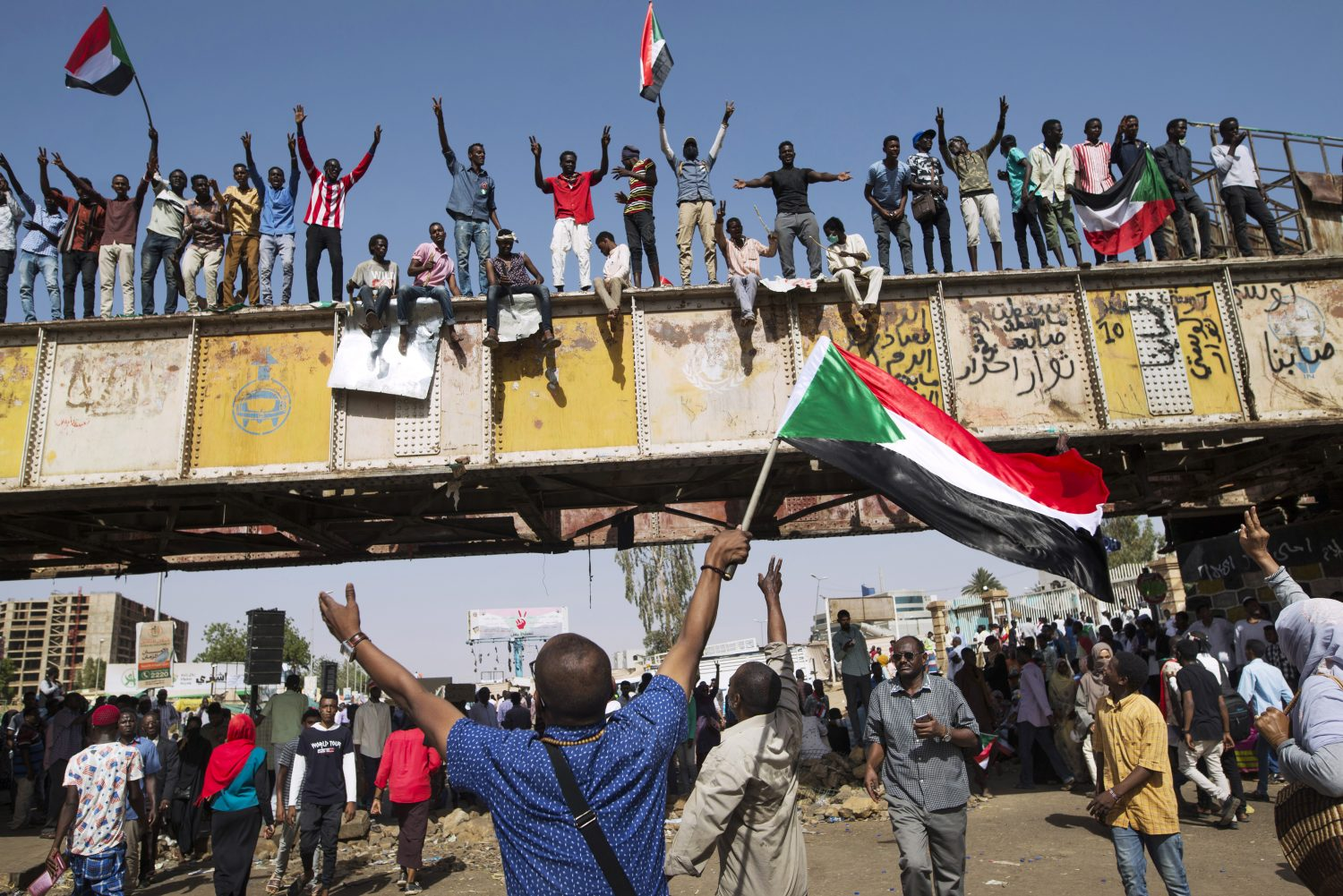 Protesters in the city centre of Karthoum, Sudan.
