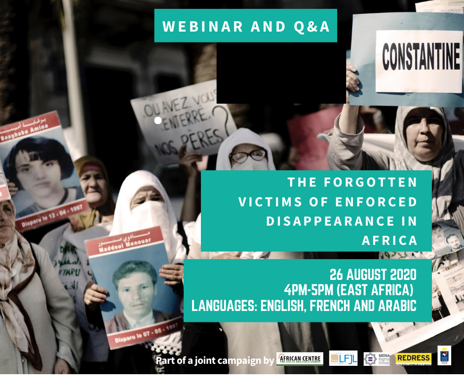 Banner Webinar on Enforced Disappearances in Africa