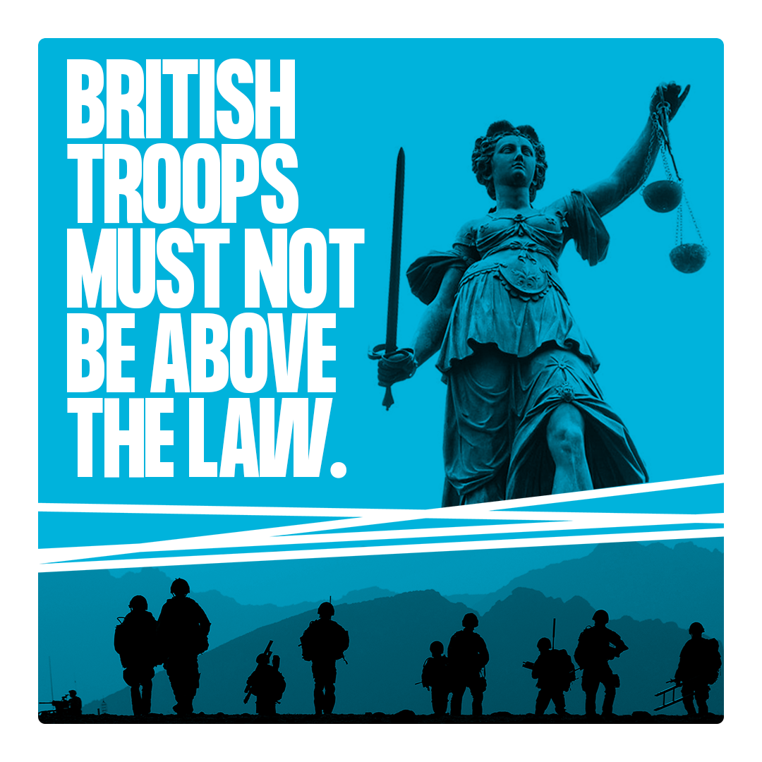 Image of troops and Lady Justice