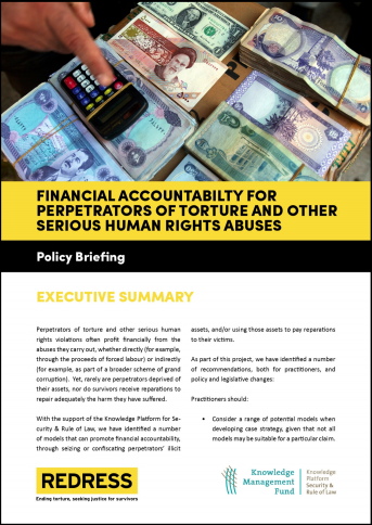 Policy Briefing: Financial Accountability for Torture cover