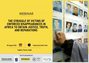 Flyer of the webinar on enforced disappearances